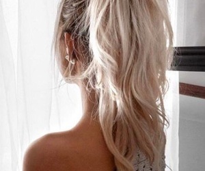 hair, messy ponytail, and blonde image