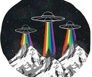 alien, rainbow, and ufo image