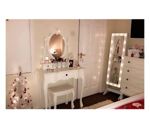 bedroom decor, dressing table, and lights image