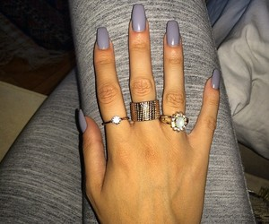 nails, grey, and rings image