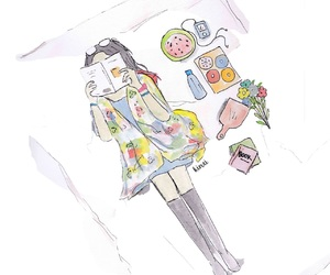 drawing, illustration, and girl image