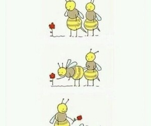 love, bee, and flowers image