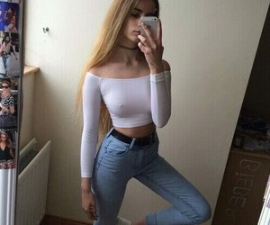 casual, denim, and white image