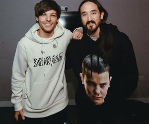 louis tomlinson, steve aoki, and one direction image
