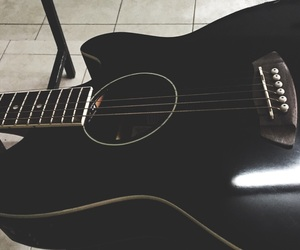 black, guitar, and music image