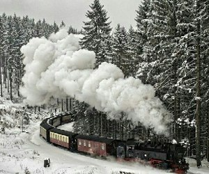winter, train, and snow image