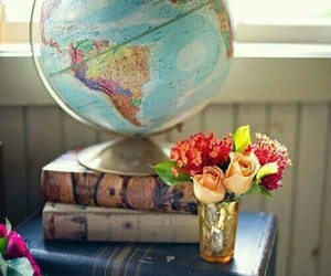 flowers, book, and world image