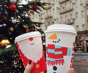 christmas, couple, and drinks image