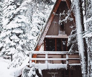 winter, snow, and cabin image