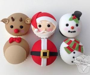 christmas, cupcakes, and snowman image