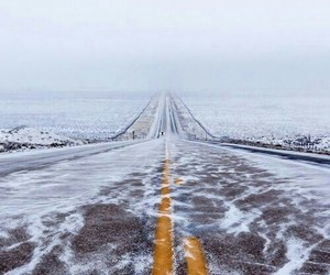 road, winter, and snow image