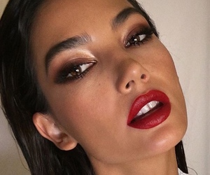 Lily Aldridge, model, and red lips image