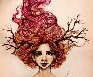 antlers, art, and girl image