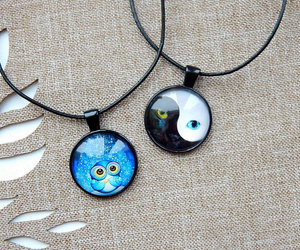 owl totem and owl glass pendant image