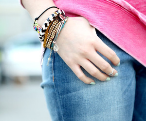bracelets, jeans, and top image