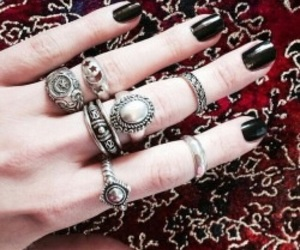 rings, black, and nails image