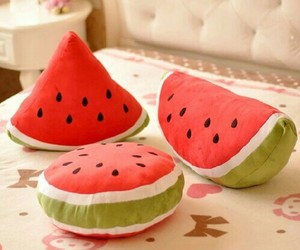 watermelon, cute, and cushion image