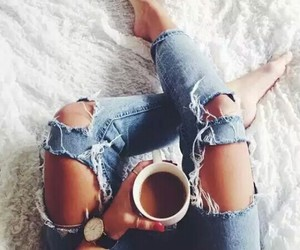 breakfast, coffe, and jeans image