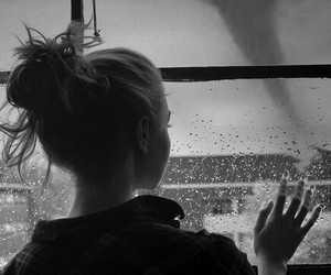 girl, rain, and black and white image