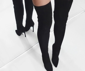 black, shoes, and longboots image