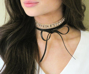 bow necklace, leather choker, and rose gold necklace image