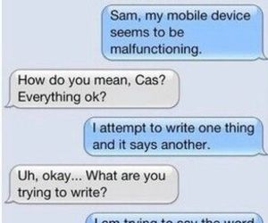 dean winchester, funny, and text message image