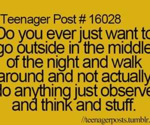 teenager post, night, and think image