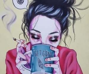 art, coffee, and cigarette image