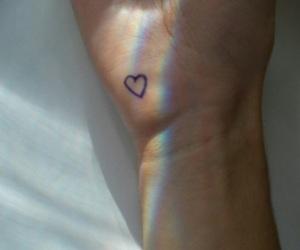 heart, rainbow, and tattoo image