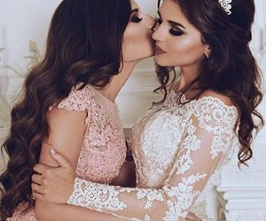 dress, wedding, and sisters image