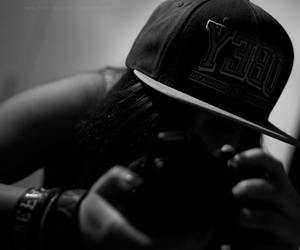 black and white, girl, and cap image
