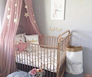 girl, pink, and baby room image
