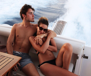 beach, couples, and sunglasses image
