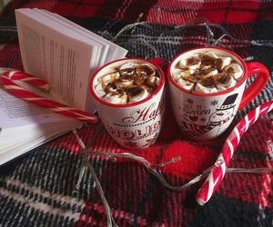 christmas, book, and hot chocolate image