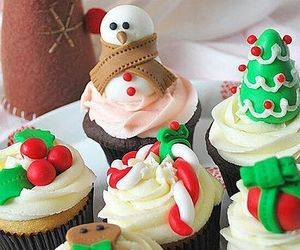 christmas, cupcake, and snowman image