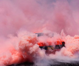 pink, car, and smoke image