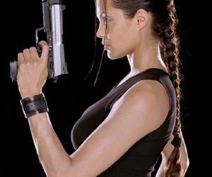 gun, lara croft, and Angelina Jolie image
