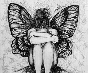 drawing, butterfly, and wings image