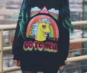 unicorn, grunge, and hell image