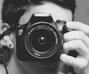 black and white, boy, and camera image