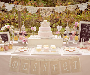 cake, candy buffet, and garden image