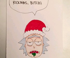 christmas, christmas card, and rick and morty image