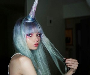 beauty, style, and colorful hair image