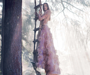 dress, feathers, and model image