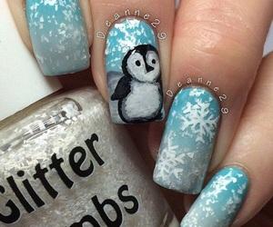 nail polish, nails, and penguin image