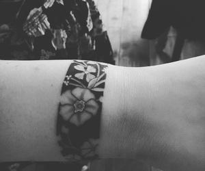 flowers, tattoo, and wristband image