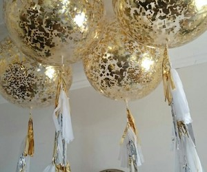 balloons, decorations, and gold image