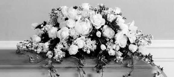 black and white, flowers, and funeral image