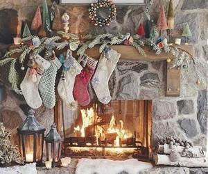 christmas, fire, and house image