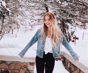 black jeans, blonde hair, and denim jacket image
